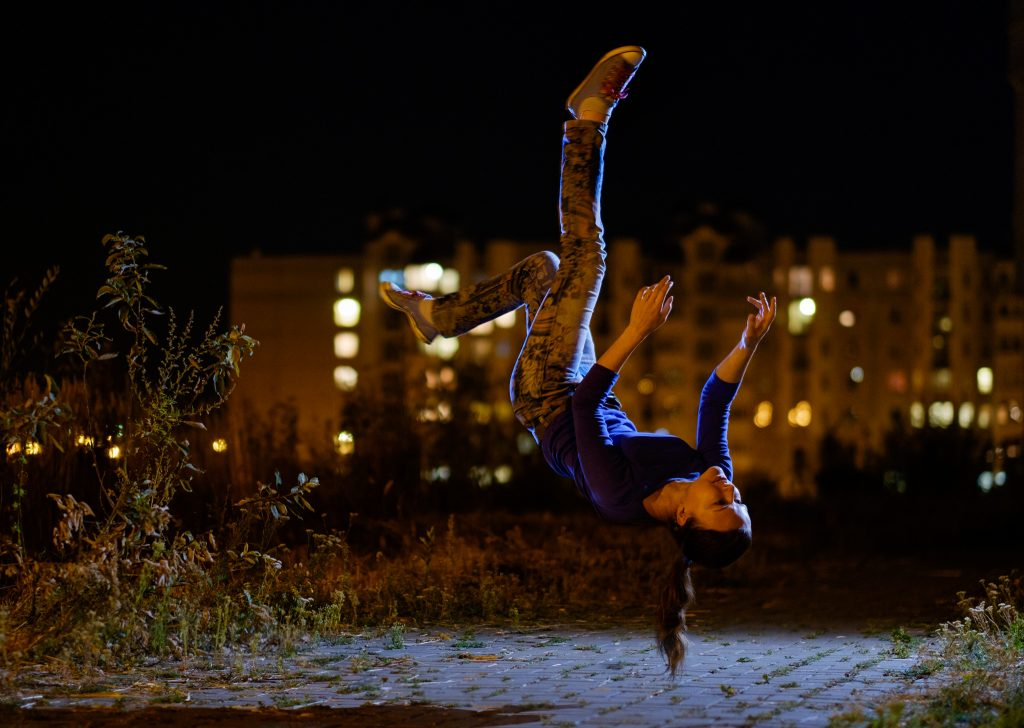 Levitation night portrait