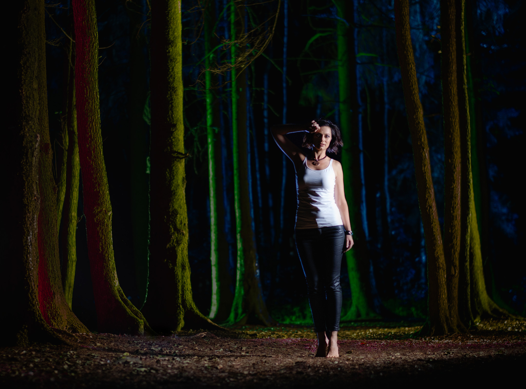 mini session, night portrait with light painting