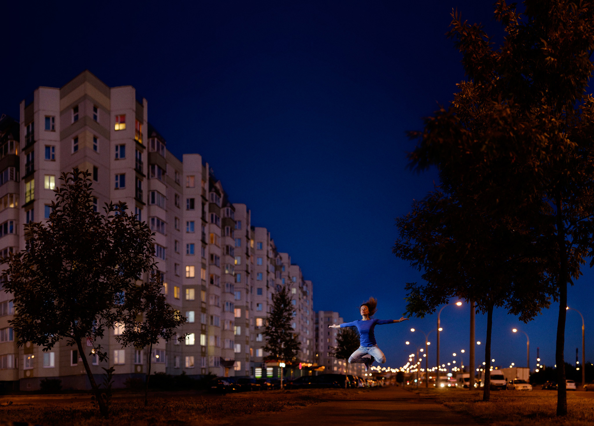 Night portrait created with Brenizer Method
