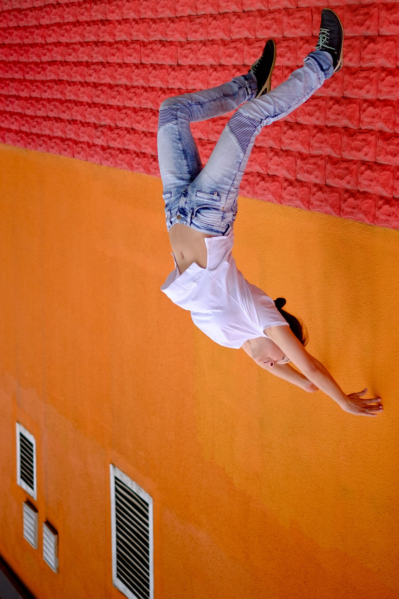 Jumping portrait upside down