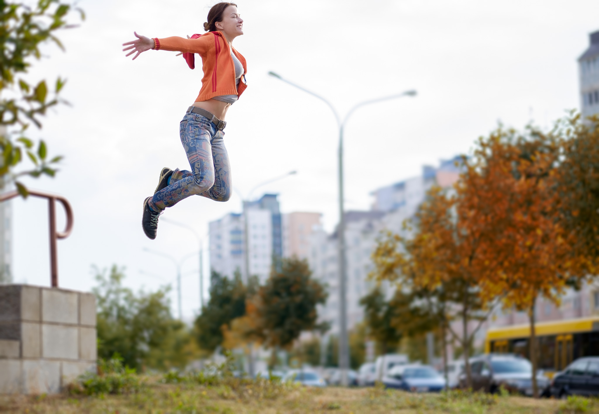 Autumn jumping portrait