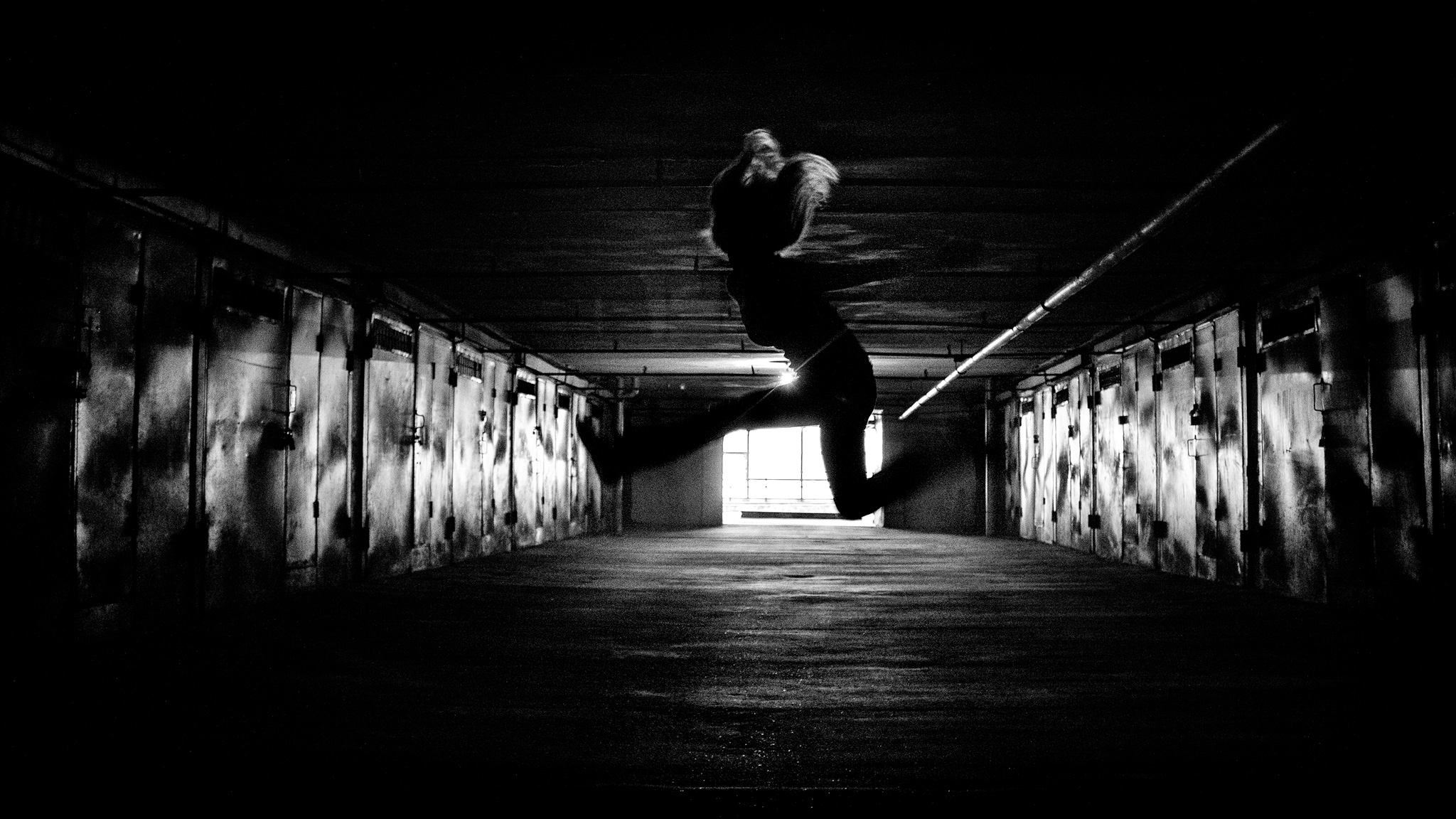 Spooky noir jumping silhouette