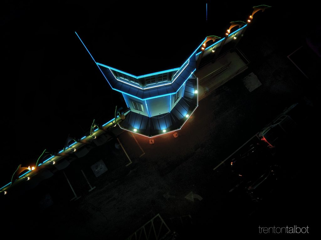 Aerial night photography. Marietta Fish Market.